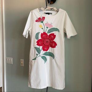 LOVE MOSCHINO RICAMO VISCOSA APPLIQUE DRESS